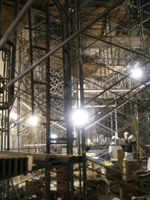 Scaffolding on Stage right looking west